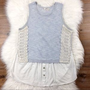 Anthropologie Moth | Mixed Media Laced Tank Blue